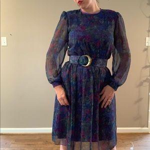 Vintage 80s Midi Dress with Wide Belt